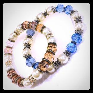 Jewelry - Bundle of 2 Faux Pearl Pink & Blue Bracelets
